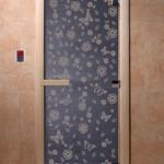 """Дверь для саун """"Весна цветы"""" синий жемчуг"""
