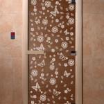 """Дверь для саун """"Весна цветы"""" бронза"""