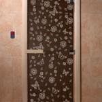 """Дверь для саун """"Весна цветы"""" черный жемчуг"""