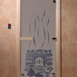 """Дверь для саун """"Банька"""" синий жемчуг матовая"""