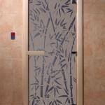 """Дверь для саун """"Бамбук и бабочки"""" синий жемчуг матовая"""