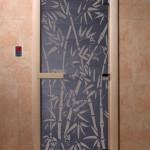 "Дверь для саун ""Бамбук и бабочки"" синий жемчуг"