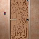 """Дверь для саун """"Бамбук и бабочки"""" бронза матовая"""