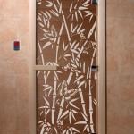 "Дверь для саун ""Бамбук и бабочки"" бронза"