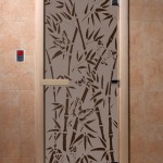 """Дверь для саун """"Бамбук и бабочки"""" черный жемчуг матовая"""