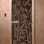 """Дверь для саун """"Бамбук и бабочки"""" черный жемчуг"""