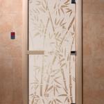 """Дверь для саун """"Бамбук и бабочки"""" сатин"""
