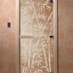 """Дверь для саун """"Бамбук и бабочки"""" прозрачная"""