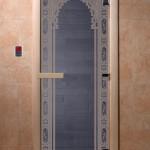 """Дверь для саун """"Восточная арка """" синий жемчуг"""