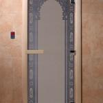"""Дверь для саун """"Восточная арка """" синий жемчуг матовая"""