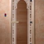"""Дверь для саун """"Восточная арка """" бронза"""