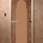 """Дверь для саун """"Восточная арка """" бронза матовая"""