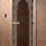 """Дверь для саун """"Восточная арка """" черный жемчуг"""