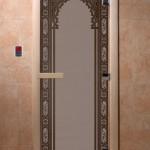 """Дверь для саун """"Восточная арка """" черный жемчуг матовая"""