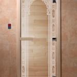"""Дверь для саун """"Восточная арка """" Прозрачная"""
