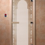 """Дверь для саун """"Восточная арка """" сатин"""