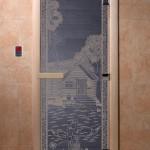 "Двери для саун ""Банька в лесу"" синий жемчуг"