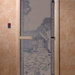 """Двери для саун """"Банька в лесу"""" синий жемчуг матовая"""