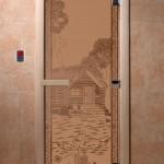 """Двери для саун """"Банька в лесу"""" бронза матовая"""