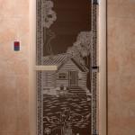 """Двери для саун """"Банька в лесу"""" черный жемчуг"""