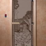 """Двери для саун """"Банька в лесу"""" черный жемчуг матовая"""