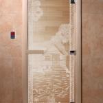"""Двери для саун """"Банька в лесу"""" прозрачная"""
