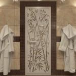 "Дверь для Хамама ""Бамбук и бабочки"" бронза матовая"