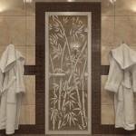 """Дверь для Хамама """"Бамбук и бабочки"""" бронза"""