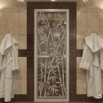 """Дверь для Хамама """"Бамбук и бабочки"""" прозрачное"""