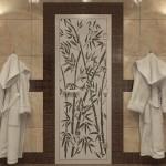 """Дверь для Хамама """"Бамбук и бабочки"""" черный жемчуг матовая"""