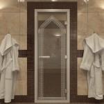 """Дверь для Хамама """"Арка"""" прозрачная"""