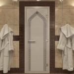 "Дверь для Хамама ""Арка"" синий жемчуг матовая"