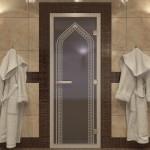 """Дверь для Хамама """"Арка"""" синий жемчуг"""