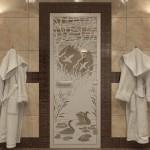 """Дверь для Хамама """"Лебединое озеро"""" бронза матовая"""