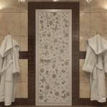 """Дверь для Хамама """"Цветы и бабочки"""" бронза матовая"""