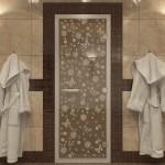 """Дверь для Хамама """"Цветы и бабочки"""" бронза"""