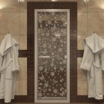 """Дверь для Хамама """"Цветы и бабочки"""" прозрачное"""