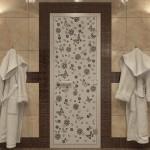 """Дверь для Хамама """"Цветы и бабочки"""" черный жемчуг матовая"""