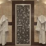 """Дверь для Хамама """"Цветы и бабочки"""" черный жемчуг"""