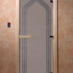 "Двери для саун ""Арка"" синий жемчуг матовая"