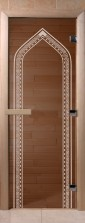 """Двери для саун """"Арка"""" бронза"""