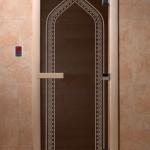 "Двери для саун ""Арка"" черный жемчуг"