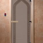"""Двери для саун """"Арка"""" черный жемчуг матовая"""