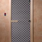 """Дверь для саун """"Мираж"""" синий жемчуг"""
