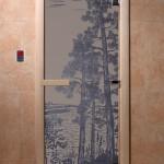 """Дверь для саун """"Рассвет"""" синий жемчуг матовая"""