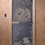 """Дверь для саун """"Лебединое озеро"""" синий жемчуг"""