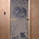 """Дверь для саун """"Лебединое озеро"""" синий жемчуг матовая"""