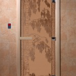 """Дверь для саун """"Березка"""" бронза матовая"""