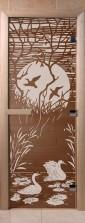 """Дверь для саун """"Лебединое озеро"""" бронза"""