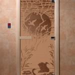 """Дверь для саун """"Лебединое озеро"""" бронза матовая"""